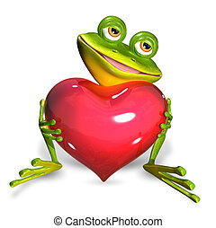 Frog with heart - illustration merry green frog with red...