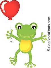 Frog with heart shaped balloon theme 1