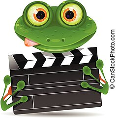 Frog with movie clapper - Illustration green frog with a...
