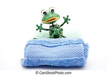 Frog with washcloth