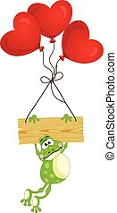 Frog with wooden sign and heart balloons