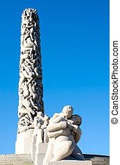 OSLO - JUNE 19: The Monolith statue at the Vigeland Sculpture Arrangement in Frogner Park on June 19, 2012 in Oslo, Norway