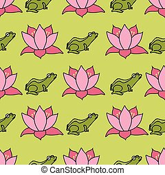 Frogs and lotus flowers in rows on bright green background seamless pattern vector repeat
