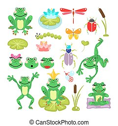 Frogs cartoon green clip-art vector set. Beetles, dragonfly...