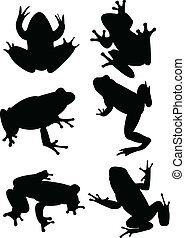 Frogs collection silhouette - vector