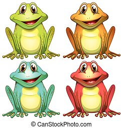 Illustration of different color frogs