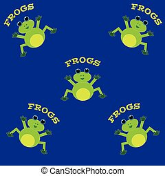 Frogs on blue background.