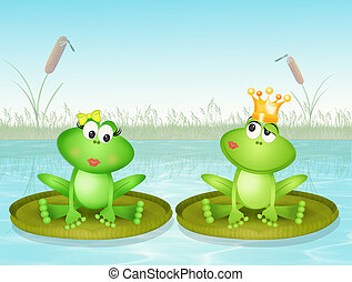 frogs on water lily