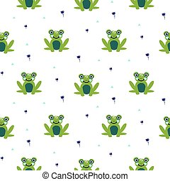 Frogs seamless vector pattern. Cute green animal bold print on white background.