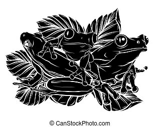 frogs silhouettes collection vector illustration design art