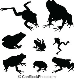 frogs, silhouettes