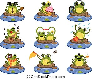 Frogs Sitting On The Stone Character Set
