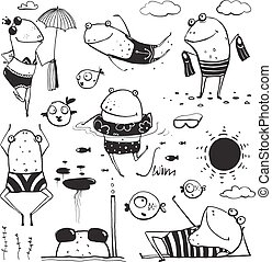 Frogs Summer Swimming Drawing Collection