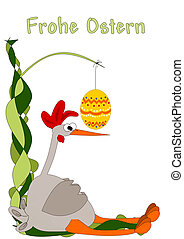 Frohe Ostern - an exhausted and irritated chicken - happy...