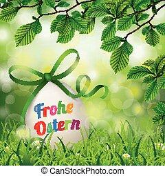 frohe, ostern, huevo de pascua, haya, ramitas, flores