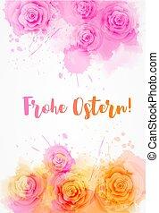 frohe, ostern, plano de fondo, con, rosa, flores