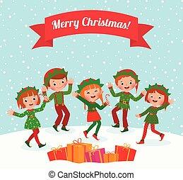 frohe weihnacht, elfen