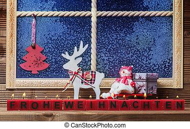 frohe weihnacht, fenster, dekorationen