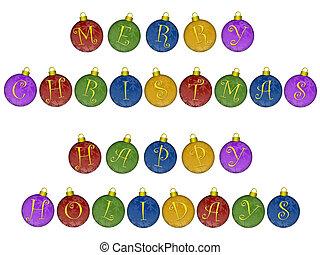 frohe weihnacht, glücklich, feiertage, auf, bunte, verzierungen