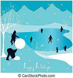 frohe weihnacht, glücklich, feiertage, landschaftsbild, 3