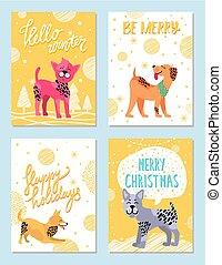frohe weihnacht, glücklich, feiertage, vektor, abbildung