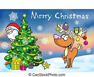 frohe weihnacht, grüßen karte, weihnachtsmann, versteckt, hinten, e, baum, und, rentier, vektor, abbildung