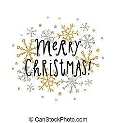 Frohe Weihnachten Glitzer.Punkte Beschriftung Goldenes Hand Fröhlich Gezeichnet Glitzer