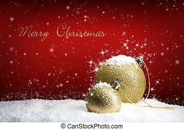 frohe weihnacht, -, mit, gold, verzierung