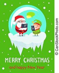 frohe weihnacht, und, frohes neues jahr, gruß- karten