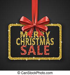 frohe weihnacht, verkauf, glänzend, design, template., weihnachten, dekoration, plakat, mit, goldenes, glitzer, und, rotes band, bow., feiertag, beförderung, shoppen, ad., winter, abbildung, auf, schwarz, hintergrund.