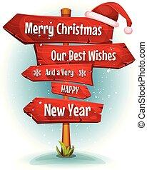 frohe weihnacht, wünsche, auf, rotes , zeichen & schilder, pfeile