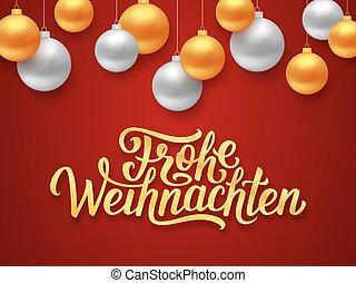 frohe, weihnachten, deutsch, feliz navidad, tarjeta