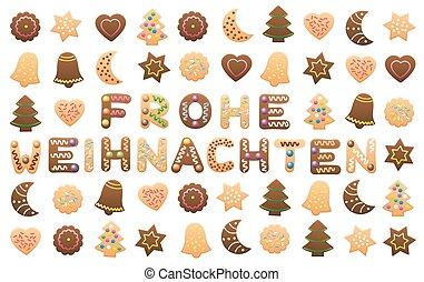 frohe, weihnachten, galletas, deseos