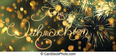 frohe, weihnachten, merry christmas, do, němec