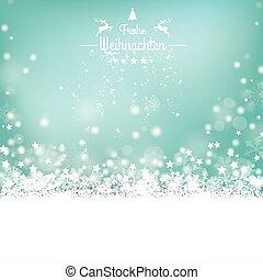 Frohe Weihnachten Stars Snow Bokeh Stars Cover - German text...