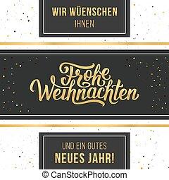 frohe, weihnachten, vector, tipográfico, tarjeta