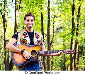 froher guy, spielende gitarre