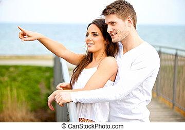 frohes ehepaar, datieren, junger, draußen