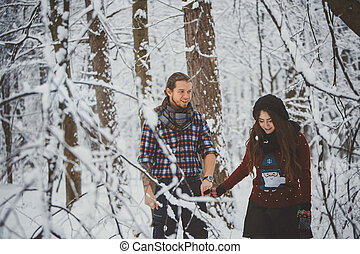 frohes ehepaar, gehen, in, winter, park