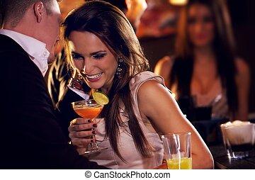 frohes ehepaar, genießen, der, party