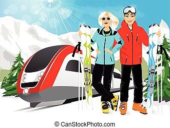 frohes ehepaar, skiers, in, berg zuflucht