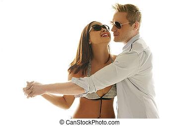 frohes ehepaar, spielerisch, tanzen