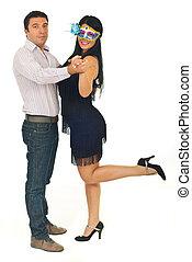 frohes ehepaar, tanzen, an, party