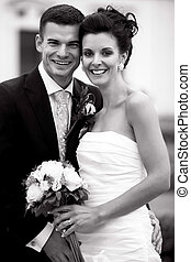 frohes ehepaar, youhg, geheiratet