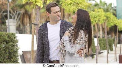 frohes ehepaar, zufriedengestellt, junger, mögen