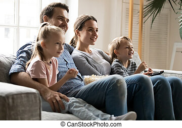frohes heim, familie, uhr, kinder, fernsehapparat