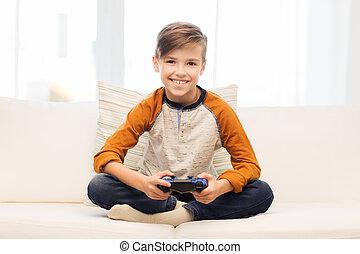 frohes heim, spielende , steuerknüppel, videospiel, junge