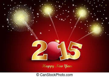 frohes neues jahr, 2015, feier, begriff