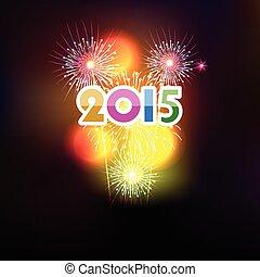 frohes neues jahr, 2015, mit, feuerwerk