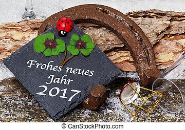 frohes neues jahr, 2017, grüßen karte, glücklicher charme